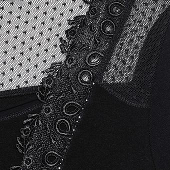 Basic Shirt mit Spitzen-Applikation, schwarz