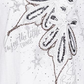 Kapuzenshirt mit Pailletten-Design, weiss