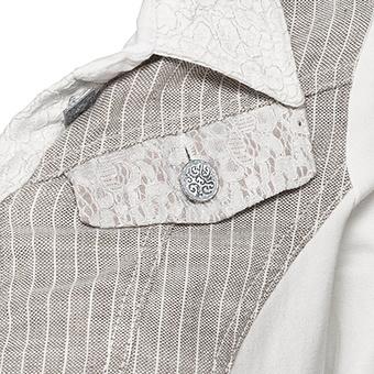Jeansjacke mit Streifen, titan