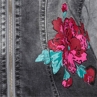 Jeansjacke mit bunten Patches, dark grey