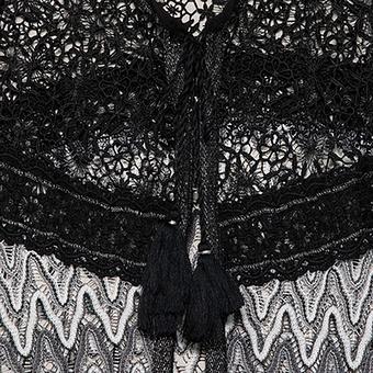 Shirt-Jacke mit Spitzen-Strukturen, schwarz-weiss