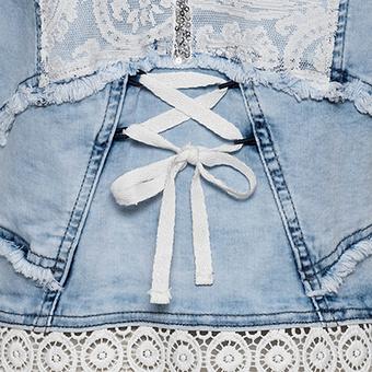 Jeansjacke mit Spitze, bleached
