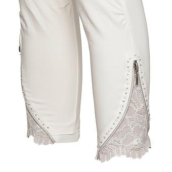Baumwoll Leggings mit Reißverschluss 55cm, offwhite