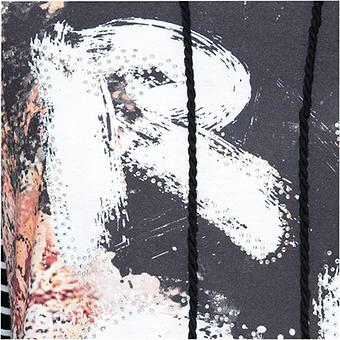 Streifenshirt mit Front-Print, schwarz