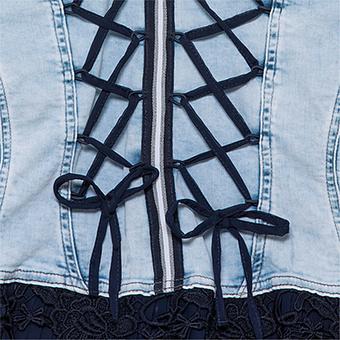 Jeansjacke mit Kreuzschnürung, blue