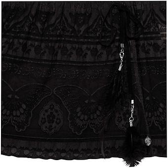 Carmen Top mit Viskose, schwarz