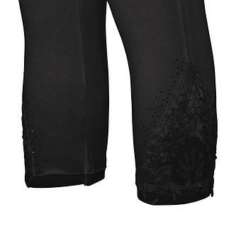 Baumwoll-Leggings Häkelspitze 55cm, schwarz