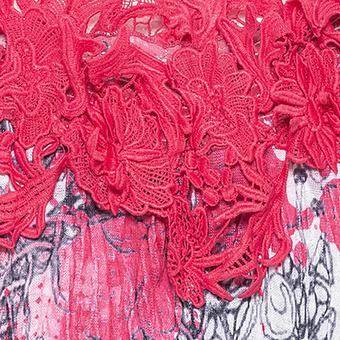 Crash-Top mit Blüten-Applikationen, hot pink