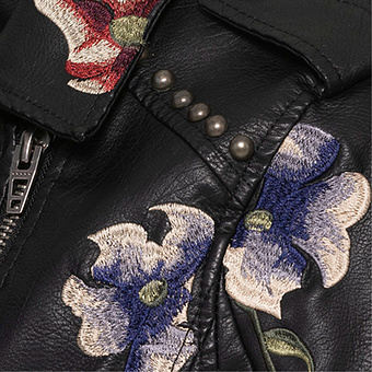Jacke in Echtleder-Optik, schwarz