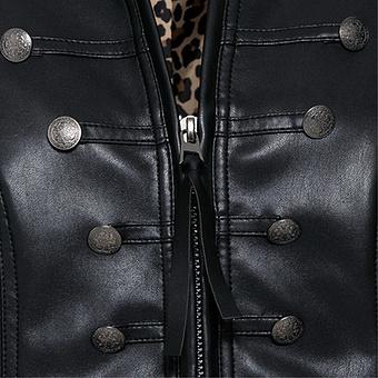 Jacke in Leder-Optik, schwarz