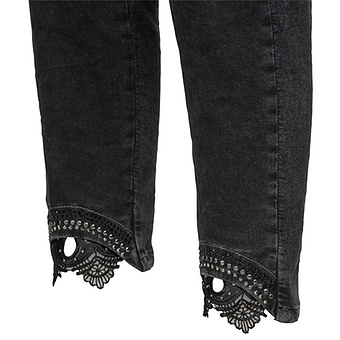 Sweat-Jeans mit Häkelspitze 64cm, dark grey
