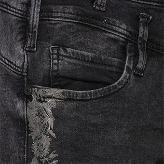 Sweat-Jeans mit Gelprint 72cm, dark grey