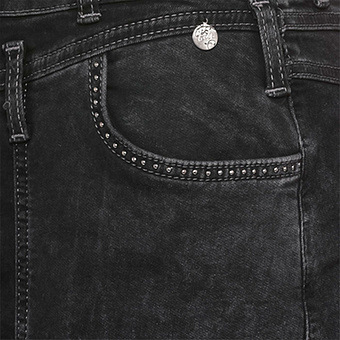 Rock mit Leder-Spitzen Optik, black denim