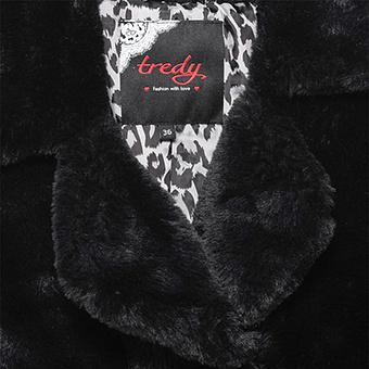 Fake Fur-Jacke mit Animal-Optik, schwarz