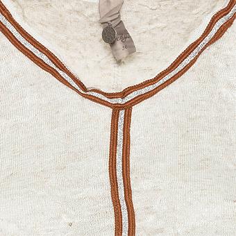 Crash-Top mit Schimmer und Zierband, sand-melange