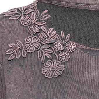 Sweaty mit Blüten-Applikation, dustyrose stonewashed