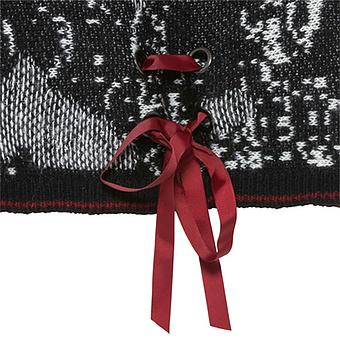 Strickpullover mit Schnürung, schwarz-weiss