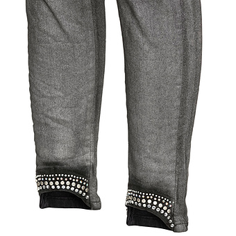 Sweat-Hose mit Glitzersteinchen 70cm, schwarz