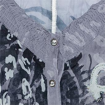 Crash-Bluse in Animal-Optik, grau