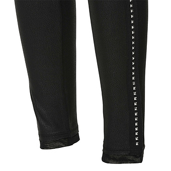 Baumwoll-Leggings mit Leder-Optik 72cm, schwarz