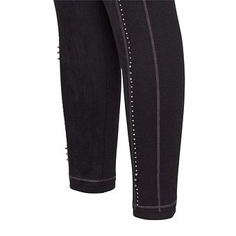 Leggings mit Veggie-Leder in Suede-Optik 70cm, schwarz