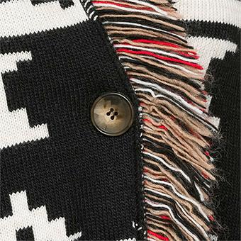 Strickmantel im Ethno-Look, schwarz