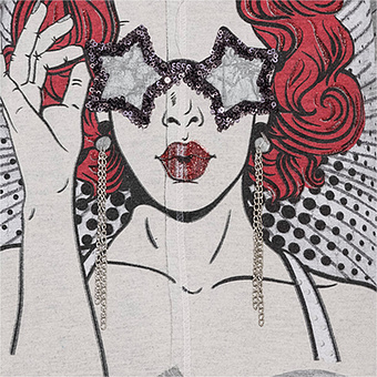Shirt mit Kopf-Print, grau-melange