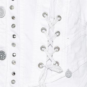 Jeansjacke mit Schnürung, weiß