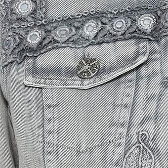 Jeansjacke mit Stickerei, silber