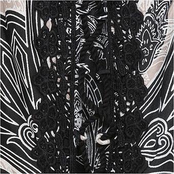 Viskose-Rock im Alloverprint, schwarz