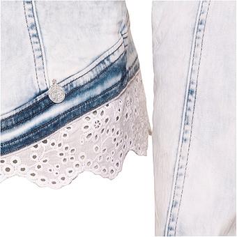 Jeansjacke mit Loch-Spitze, bleached