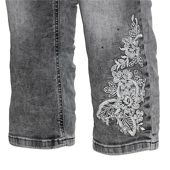 Sweat-Jeans mit Stickerei 52cm, light grey