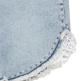 Shorts mit Häkelspitze, bleached