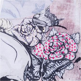 Top mit Print, weiß-pink