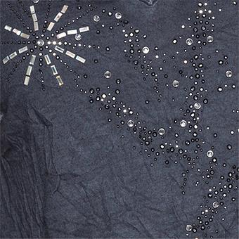 Top mit Perlen-Stickerei, navy