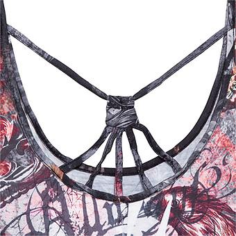 Kleid im Alloverprint, grau-bordo