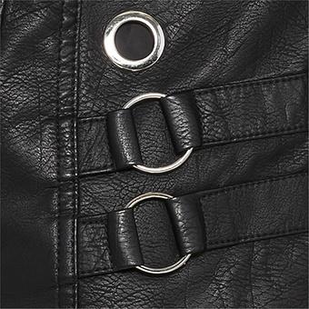 Jacke mit Veggie-Leder, schwarz