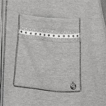 Strickjacke mit Ziersteinen, hellgrau-melange