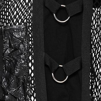 Mantel in Netz-Optik, schwarz