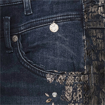 Jeans mit Metallic-Optik 78cm, dark blue