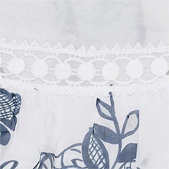 Off-Shoulder Bluse mit Seide, weiß-blau