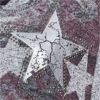 Shirt mit Stern-Motiv, grau meliert