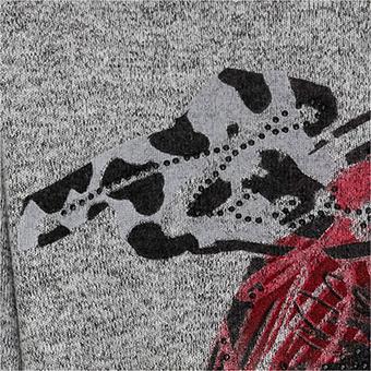 Strickshirt mit Kussmund, hellgrau-melange