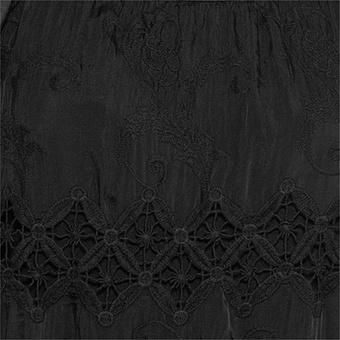 Bluse mit floraler Stickerei, schwarz