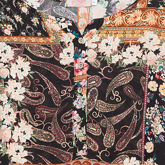 Bluse mit Animal-Paisley-Print, schwarz