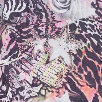 Crash-Shirt im Floral-Print und mit Spitze, schwarz