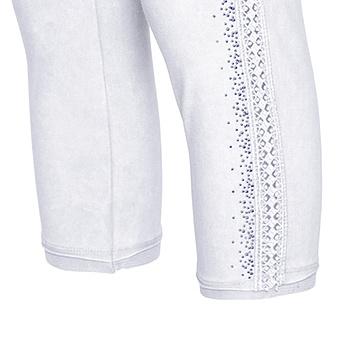 Baumwoll-Leggings mit Zierborte 55cm, weiss