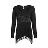 Shirt mit Glitzer, schwarz