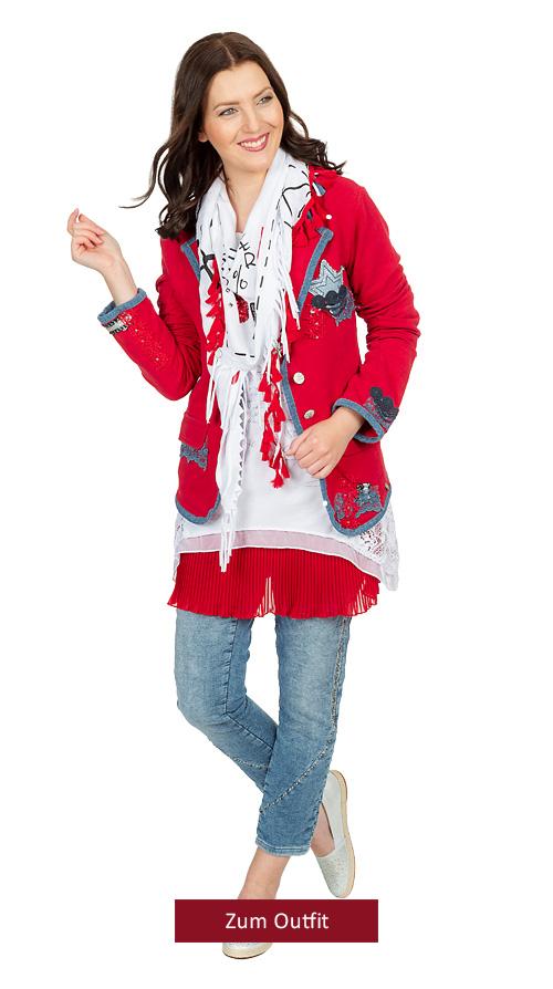 """Outfit """"Knallrot-Denim"""" 03.2019"""